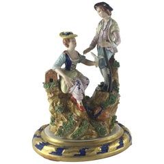 19th Century Sculpture Gilded and Polychrome Porcelain