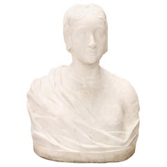 19th Century Sculpture in White Marble of Carrara Bust of a Noble Woman