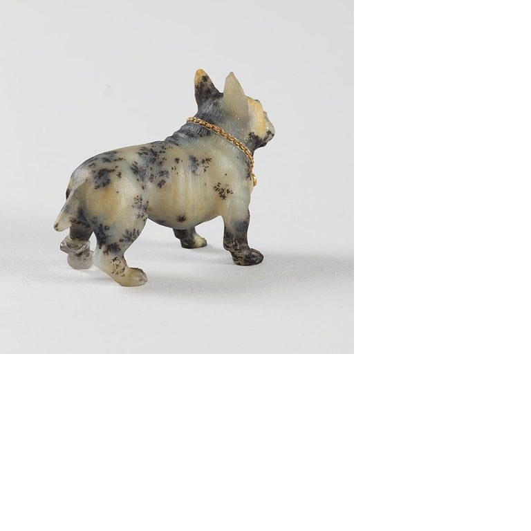 Hand-Carved 19th Century Sculpture of a French Bulldog For Sale