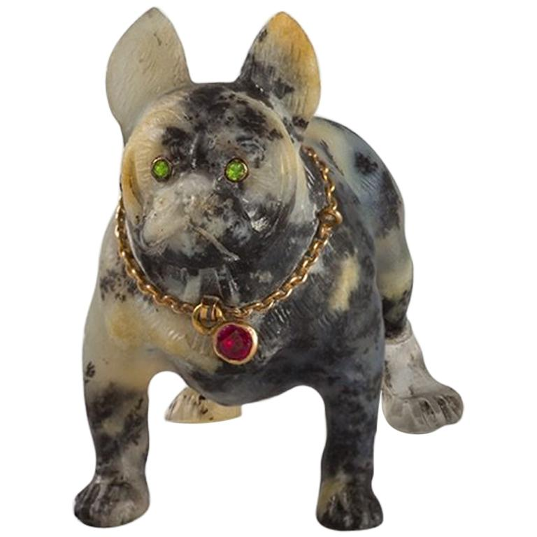 19th Century Sculpture of a French Bulldog For Sale
