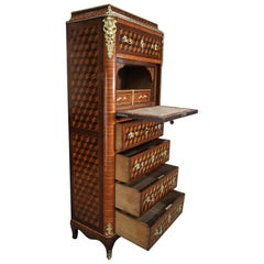 19th Century Secretaire and Drawer Marqueterie Cabinet