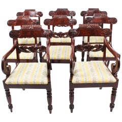 19th Century Set 8 Regency Flame Mahogany Dining Chairs in the Manner of Gillows