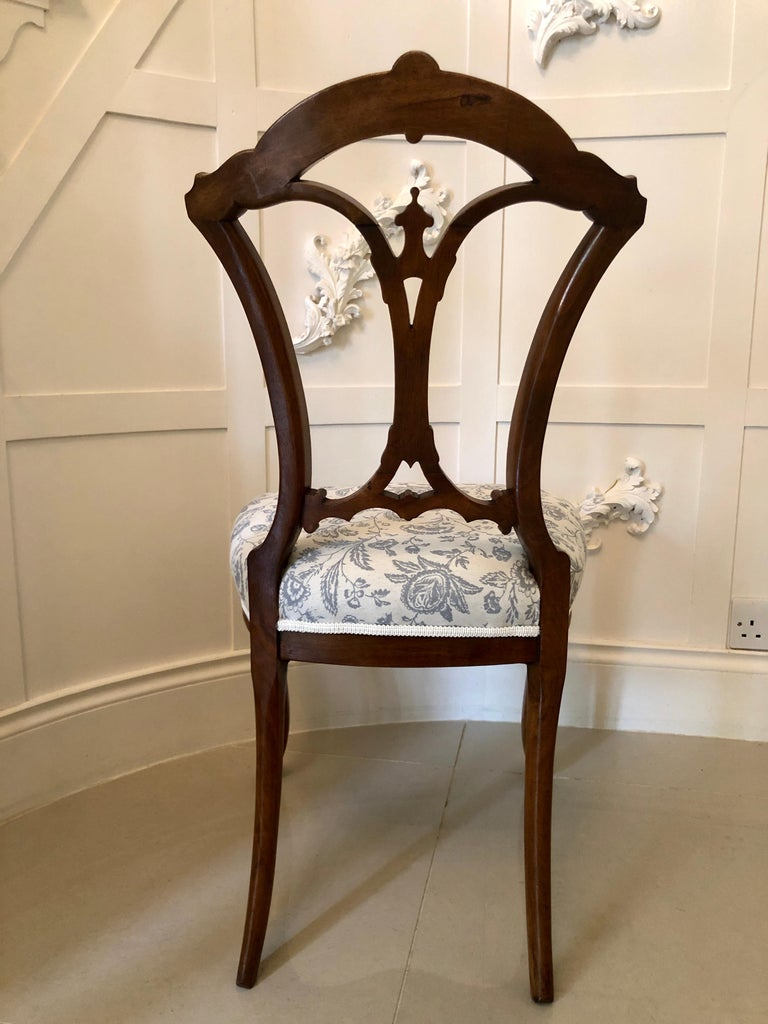 19th Century Set of 4 Antique Victorian Walnut Dining Chairs For Sale 2
