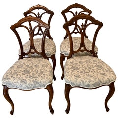 19th Century Set of 4 Antique Victorian Walnut Dining Chairs