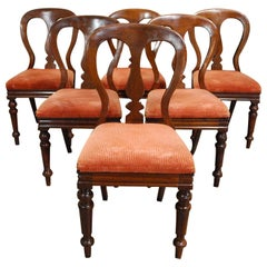 19th Century Set of 6 English Victorian Mahogany Dining Chairs by James Reilly