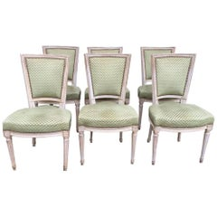 19th Century Set of 6 French Upholstered Wooden Chairs with Original Fabric