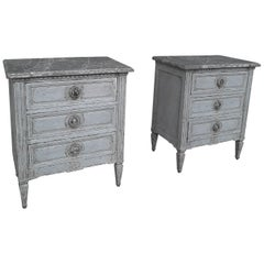 19th Century Set of Antique Drawers in Louis XVI Style of Grey Patinated Oak