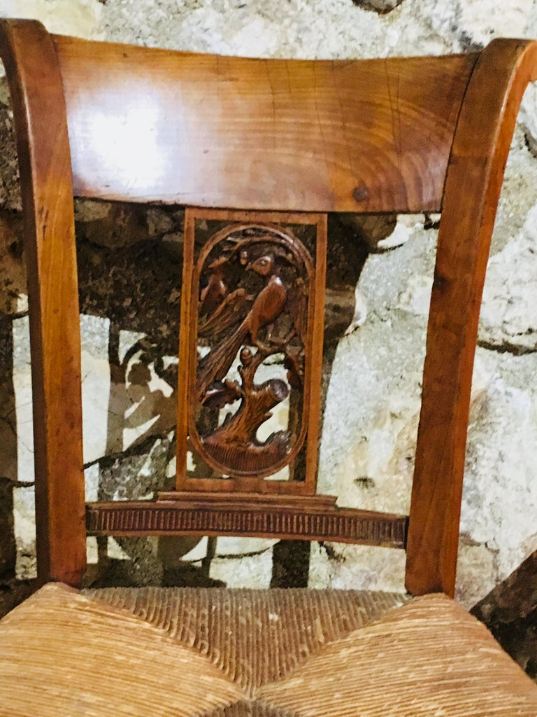 19th Century Set of Eight French Hand-Carved Chairs with Cane Seats In Good Condition For Sale In London, GB