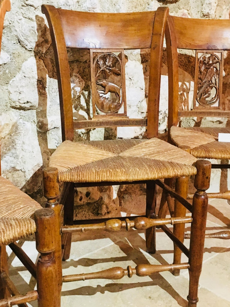 Wood 19th Century Set of Eight French Hand-Carved Chairs with Cane Seats For Sale