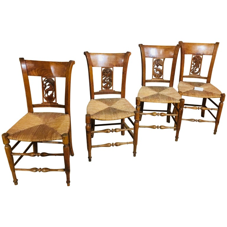 19th Century Set of Eight French Hand-Carved Chairs with Cane Seats For Sale
