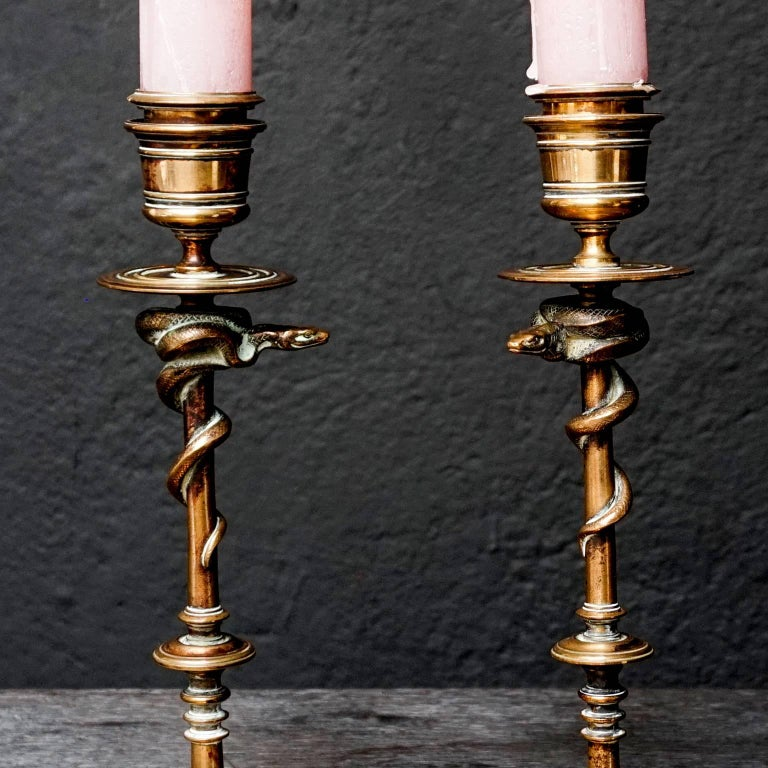 19th Century Set of French Ferdinand Barbedienne Bronze Snake Candlesticks For Sale 1