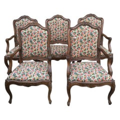 19th Century Set of Five French Wooden Armchairs with Original Upholstered