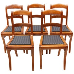 19th Century, Set of Five Solid Cherry Biedermeier Chairs