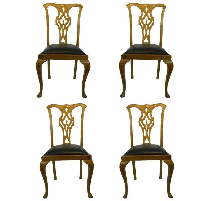 19th Century Set of Four Chippendale Style Side Chairs For Sale