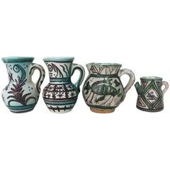 19th Century Set of Four Glazed Terracotta Vases, Urns Pitchers in Green & White