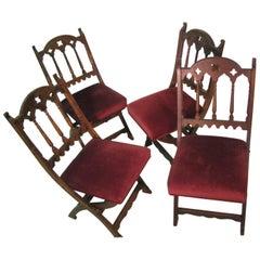 19th Century Set of Four Gothic Style Church Choir Chairs