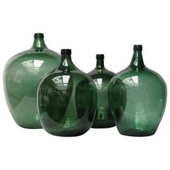 19th Century Set of Four Green Glass Bottles Demijohns, Lady Jeanne or Carboys