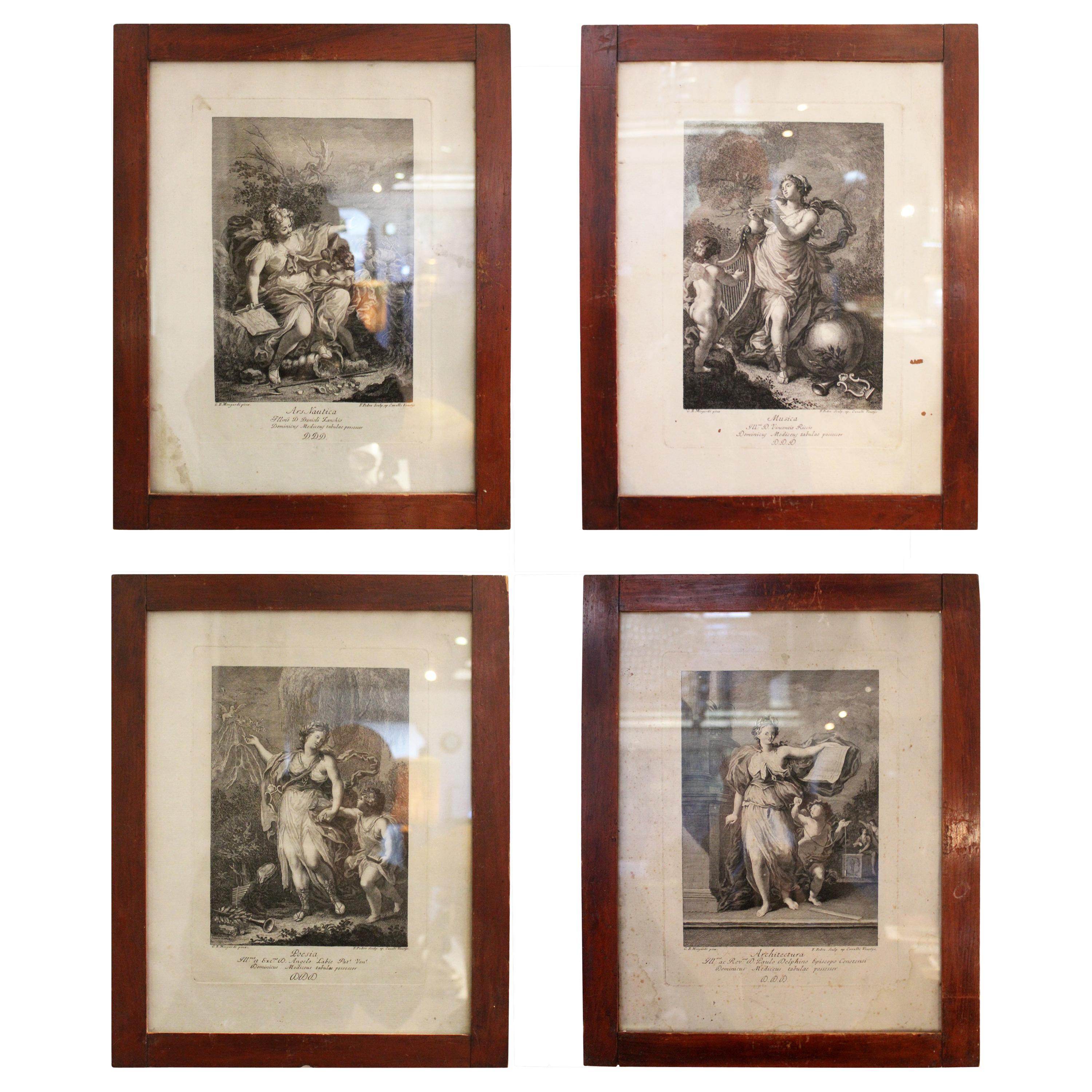 19th Century Set of Four Spanish Framed Engravings Representing the Arts
