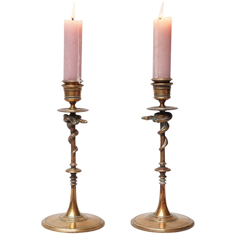 19th Century Set of French Ferdinand Barbedienne Bronze Snake Candlesticks For Sale