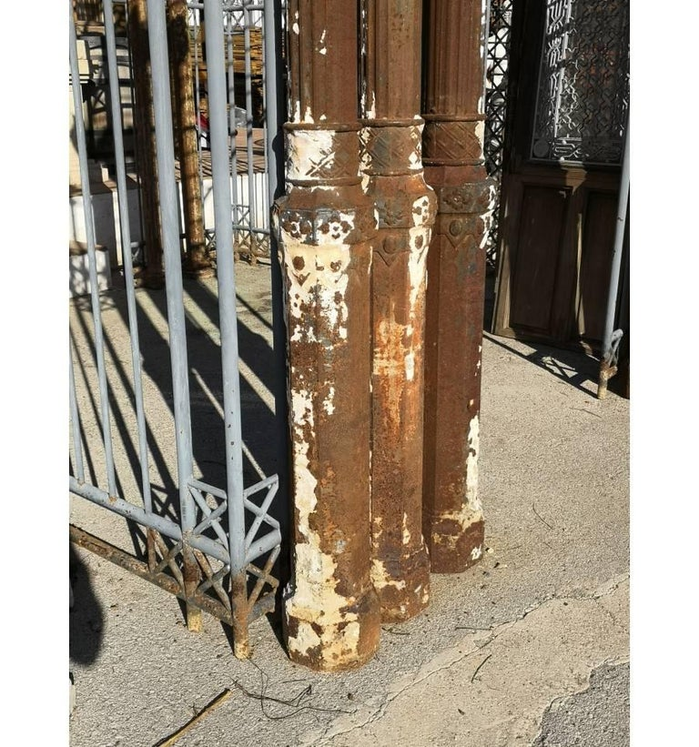 Set of seven 19th century cast iron columns topped with Corinthian capital. They come from a Palace in Malaga (Spain).