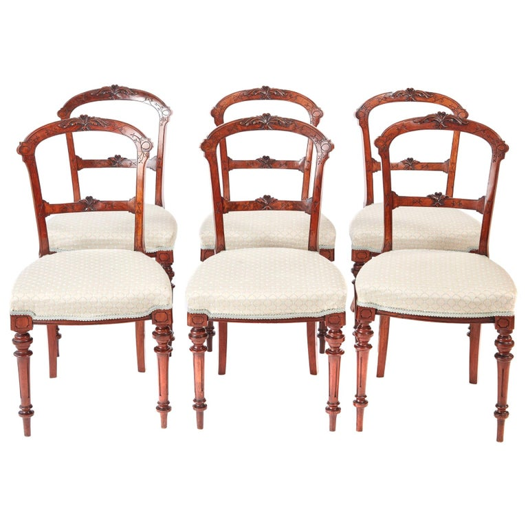 19th Century Set of Six Antique Victorian Walnut Dining Chairs For Sale