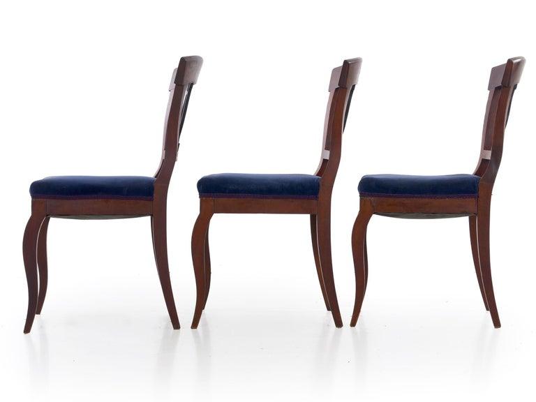 Ebonized 19th Century Set of Six Biedermeier Style Antique Dining Chairs For Sale
