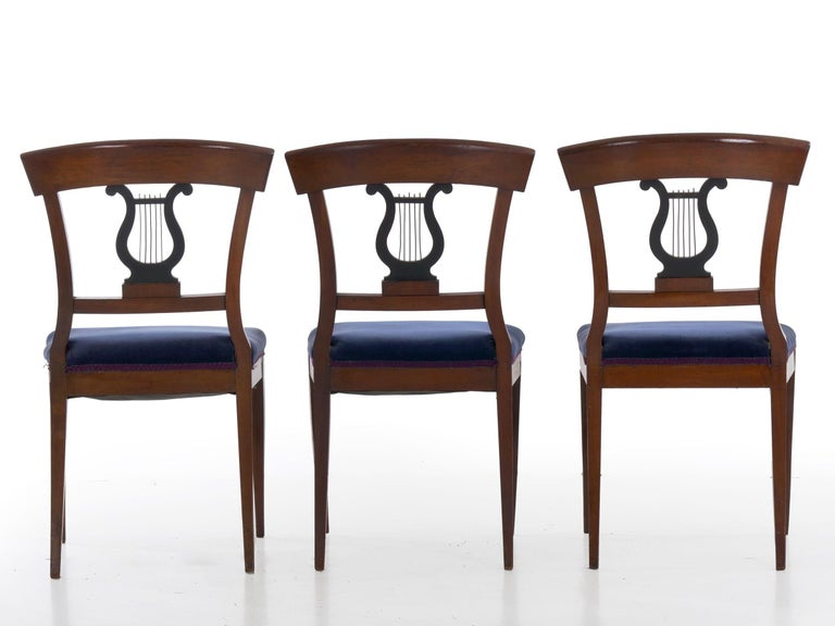 19th Century Set of Six Biedermeier Style Antique Dining Chairs For Sale 3