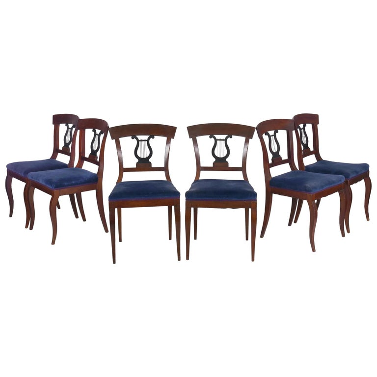 19th Century Set of Six Biedermeier Style Antique Dining Chairs For Sale