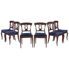 19th Century Set of Six Biedermeier Style Antique Dining Chairs