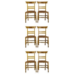 19th Century Set of Six Carved Italian Caned Chairs