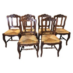 19th Century Set of Six French Farmhouse Dining Chairs
