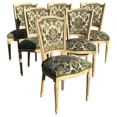 19th Century Set of Six French Lacquered Wood Chairs with Original Upholstery