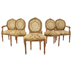 19th Century Set of Six French Louis XVI Style Dining Chairs