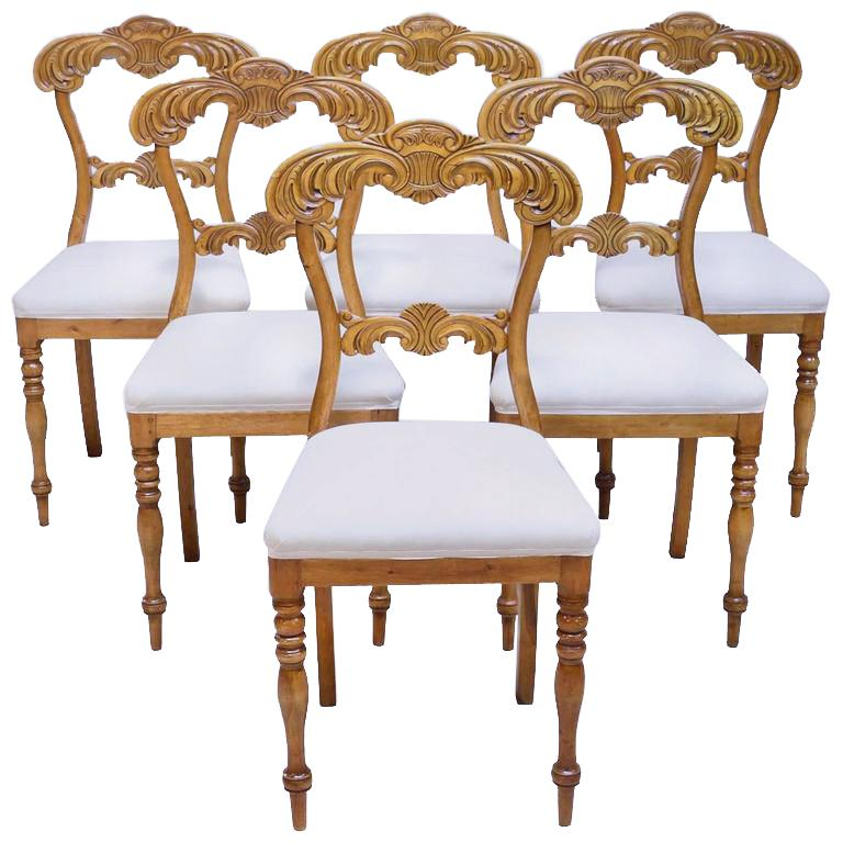 19th Century Set of Six Karl Johan Dining Chairs in Birch with Upholstered Seats For Sale