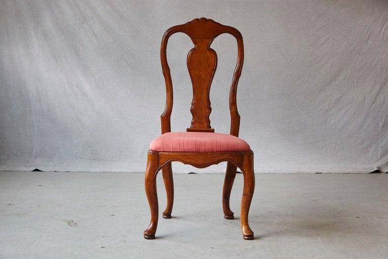 19th Century Set of Six Louis XIV French Country Style Carved Walnut Chairs For Sale 6