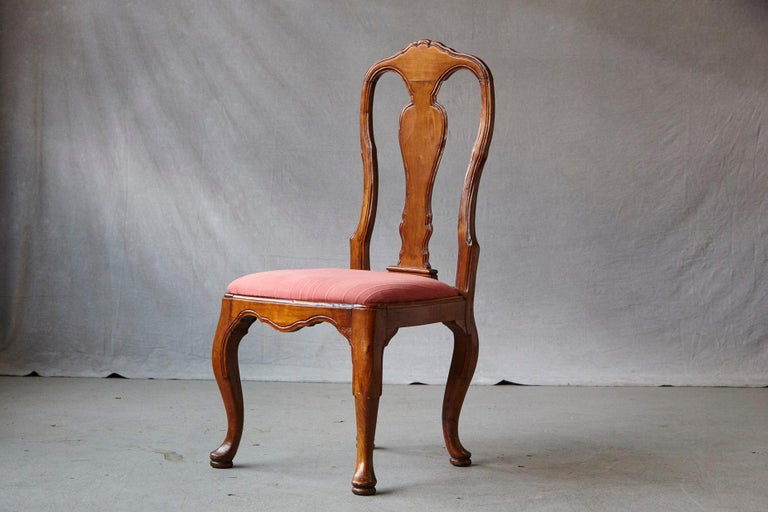 19th Century Set of Six Louis XIV French Country Style Carved Walnut Chairs For Sale 7