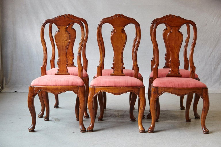 George II 19th Century Set of Six Louis XIV French Country Style Carved Walnut Chairs For Sale