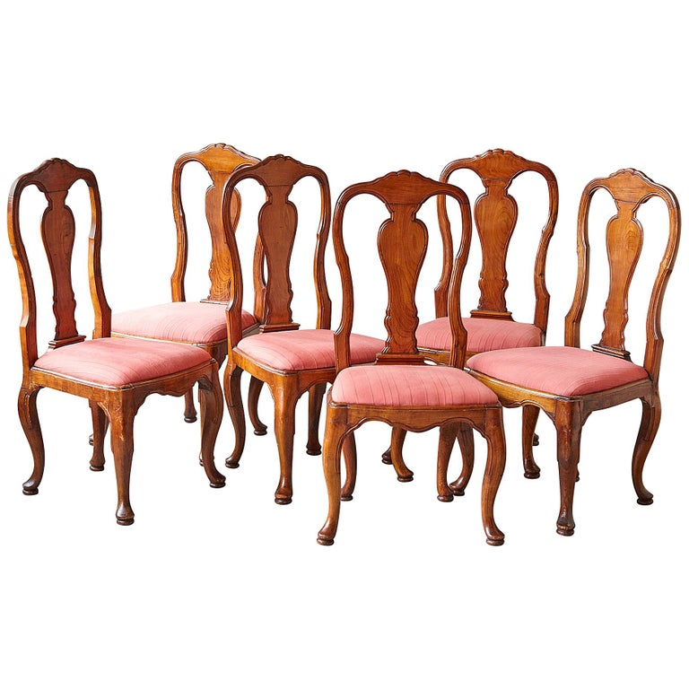 19th Century Set of Six Louis XIV French Country Style Carved Walnut Chairs For Sale