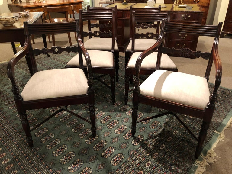 19th Century Set of Six Regency Mahogany Dining Chairs For Sale 3
