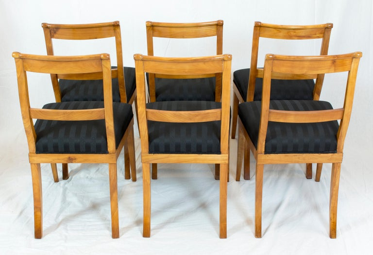 German 19th Century, Set of Six Solid Cherry Biedermeier Chairs For Sale