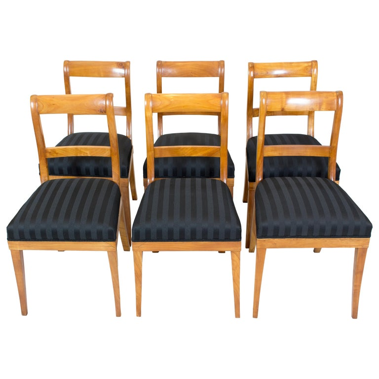 19th Century, Set of Six Solid Cherry Biedermeier Chairs For Sale