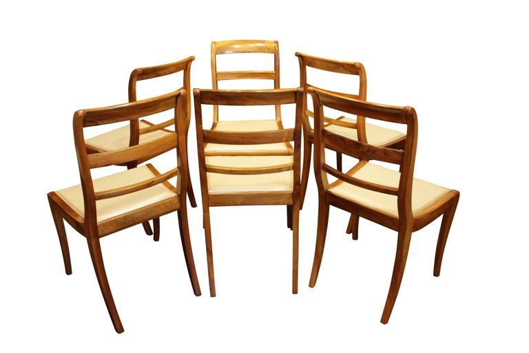 Polished 19th Century, Set of Six Solid Walnut Biedermeier Chairs from Germany For Sale