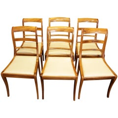 19th Century, Set of Six Solid Walnut Biedermeier Chairs from Germany