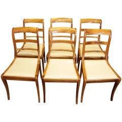 19th Century, Set of Six Solid Walnut Biedermeier Chairs from Germany