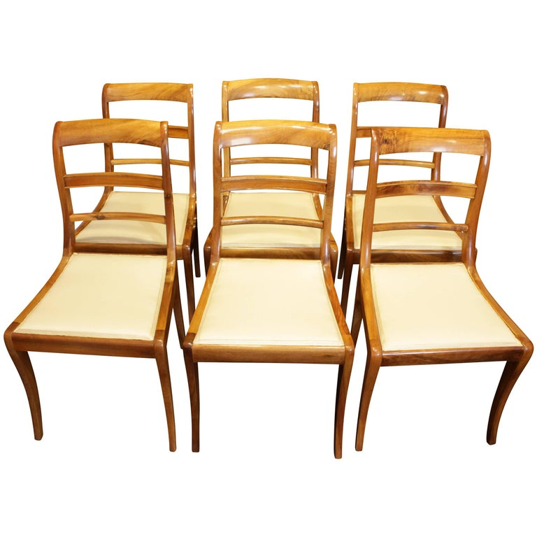 19th Century, Set of Six Solid Walnut Biedermeier Chairs from Germany For Sale