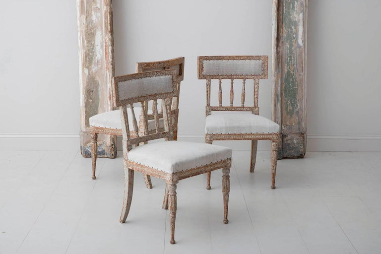 19th Century Set of Six Swedish Gustavian Period Chairs in Original Paint For Sale 5