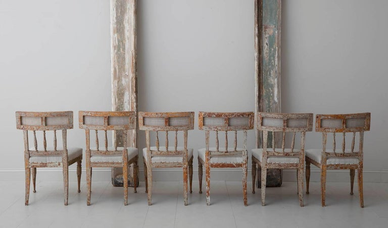 19th Century Set of Six Swedish Gustavian Period Chairs in Original Paint For Sale 7