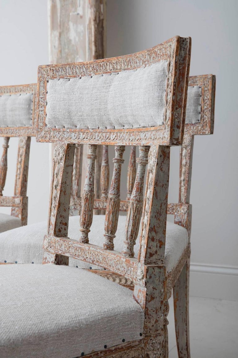 Hand-Carved 19th Century Set of Six Swedish Gustavian Period Chairs in Original Paint For Sale
