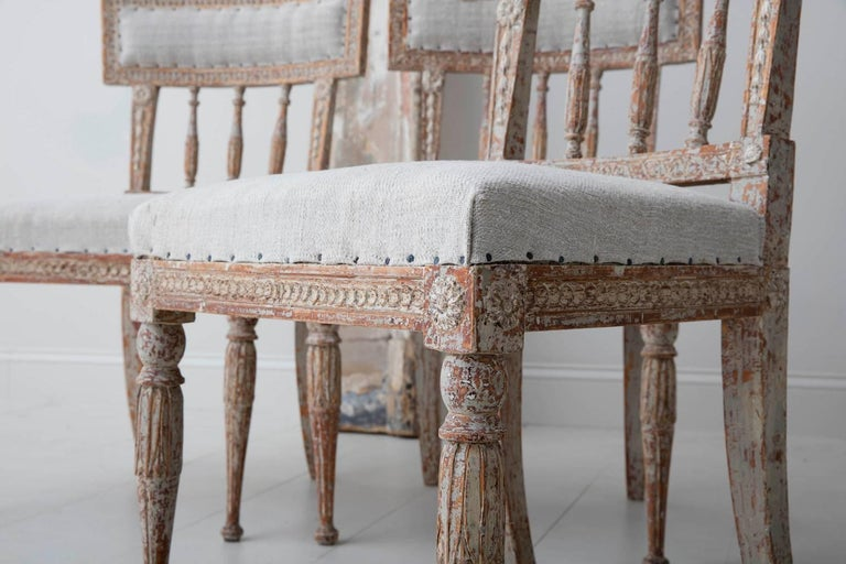 Linen 19th Century Set of Six Swedish Gustavian Period Chairs in Original Paint For Sale