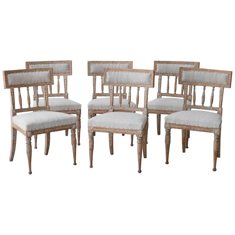 19th Century Set of Six Swedish Gustavian Period Chairs in Original Paint For Sale
